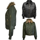 New Ladies Warmth Fur Collar Bomber Biker Vintage Jacket Coat Out wear Size S-XL