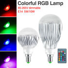 DIMMABLE E14 SCREW 5/10W RGB BULB LED LIGHT COLORFUL LAMP+24-KEY CONTROLLER 6A4