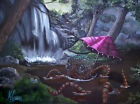 Penny's Pool by J.K. McGreens Octopus Pink Umbrella Forest Canvas Fine Art Print