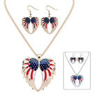 Retro Women Jewelry Set Alloy Wings Pendant Chain Party Necklace Earring Gifts