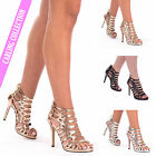 Ladies High Heel Stilettos Sandals Caged Womens Evening Party Clubwear Shoes