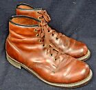 Vintage Knapp Brown Leather Work Chore Packer Boots - USA 1940's-50's Men's 8 EE
