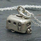 925 Sterling Silver 3D Camper RV Airstream Camping Charm Chain Necklace