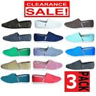 3 x MENS ZAPATILLAS CANVAS SHOES Slip On Casual Loafer Assorted Colour Pack SALE