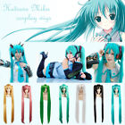 Long Blue Hatsune Vocaloid Anime Cosplay Party Full Wig Hair With Ponytails 80CM