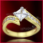 18K 2-tone GOLD GF WOMENS SOLID 1.2CT SQUARE WEDDING DERSS TWIST BAND RING GIFT