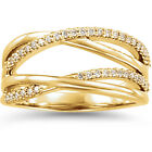 1/4Ct Diamond Criss Cross Right Hand Ring 14K Yellow Gold