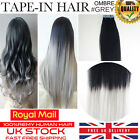 "PREMIUM 6A 16""-24"" 100G TAPE IN OMBRE GREY DIP DYE REMY HUMAN HAIR EXTENSIONS UK"