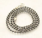 Diamond Moon Cut Ball Bead Chain Necklace Black Rhodium Real Sterling Silver