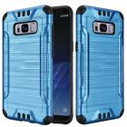 For Samsung Galaxy S8 G950 Brushed Hybrid Phone Case + Screen Protector