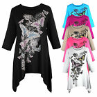 B37 Popular Butterfly Print L/Sleeve Tunic Length Winter Fashion Size 18/20 Top