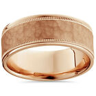 8mm Hammered Mens Wedding Band 14K Rose Gold