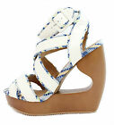 New Qupid Lisbeth 01 White Criss Cross Wedge Platform Open toe Sandals 5.5-10 for sale  Shipping to Nigeria