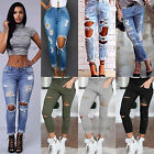 Women Ripped Knee Jeans Pants Denim Stretch Trousers Skinny Elastic Jeggings