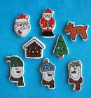 Ceramic Buttons Santa Claus Gingerbread House Snowman 3 Variations Christmas Sew