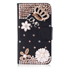 Magnetic Bling Crystal Diamond Pearls PU leather flip stand wallet case cover #F
