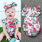 2pcs Newborn Toddler Baby Girl Clothes Romper Bodysuit+Headband Outfits Set