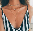 Woman Three Layers Chain With Pearl Pendant Bib Necklace Set Crystal Choker New