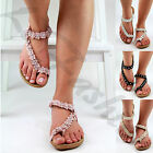 New Womens Flat Sandals Ankle Strap Toe Post Flower Embellished Summer Shoes