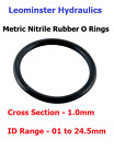 Rubber O Rings - Metric - Nitrile - C/S 1.0mm - ID Range 01 to 24.5mm