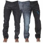 New Mens ENZO Regular Leg Straight Fit Coated Casual Denim Jeans All Waist Sizes