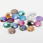 20-100Pcs Resin Mermaid Fish/Dragon Scale Beads Flat Bottom Cabochon 12mm