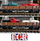 NEW G SCALE FLATBED & TWO DIE-CAST US RETRO PICK-UP RAILWAY 45mm TRAIN TRUCKS