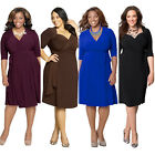 Women Plus Size Deep V Neck Wrap Ruched Waisted Evening Party Bodycon Mini Dress