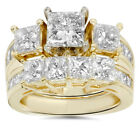 3 1/2ct Side Stone Diamond Ring Set 14K Yellow Gold