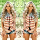 Ladies 4th Of July T shirt American Flag Shirt Baggy Stars Striped Tops Blouse