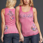 Sinful AFFLICTION Womens TANK TOP T-Shirt TATIANA Tattoo RHINESTONES Biker $48