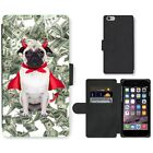 Phone Card Slot PU Leather Wallet Case For Apple iPhone devil pug dog all money