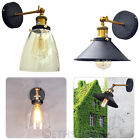 Industrial Vintage Antique Brass Black Loft Sconce Glass Wall Light Lamp Shade