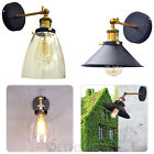 Industrial Vintage Antique Brass Black Loft Sconce Glass Wall Lights Lamp Shade