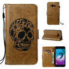Coffee Relief Skull carving skeleton Card strap Flip wallet Leather phone case