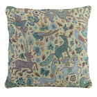 Traditional Vintage Woodland Tapestry Design Teal and Yellow  FILLED CUSHION
