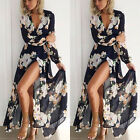 Women Ladies Floral Print Long Sleeve Boho Evening Party Long Maxi Dress Vogue