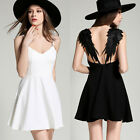 Black/White Angel Lace Wings Women Backless Skater Party Gallus Dress Harness