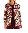 Alfred Dunner Womens Jacket Circle Oaks Abstract Print Lined size 8 10 NEW