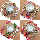 Women's Shiny Crystal Heart Eye Multilayer Quartz Bracelet Wrist Watch Dreamed