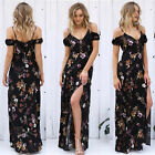Women Deep V Boho Long Maxi Evening Party Beach Dress Summer Floral Sundress