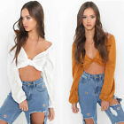 Summer Fashion Women Bandage Long Sleeve T-Shirt V-neck Crop Tops Blouse Shirt