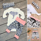 3pcs Set Infant Toddler Baby Boy Girl Tops Romper+Long Pants Outfits Set Clothes