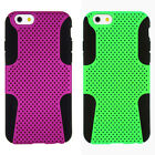 """iPhone 6 4.7"""" Hybrid Phone Case, Purple or Green Cover on Rubberized Black Skin"""