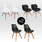Set of 2 Eames Shell Chairs Dining Side Mid Century Wood Bar Table Home Office