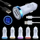 LED Car Charger + Type-C Data USB Cable for OnePlus 5 3T Lenovo ZUK Edge Moto Z