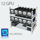 Open Air Mining Rig Stackable Frame 12 GPU Case With 10 LED Fans  For ETH Z Cash