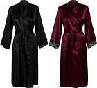 New Women's Long Silky Satin Kimono Dressing Gown Robe Vintage Lace Style Cuffs