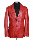 Men's MILANO RED Smart 2 Button Soft New Real Lambskin Leather Blazer Jacket