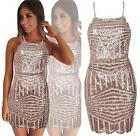 Gold Geometric Sequin Sleeveless Halter Tight Bodycon Scalloped Mini Dress NWT